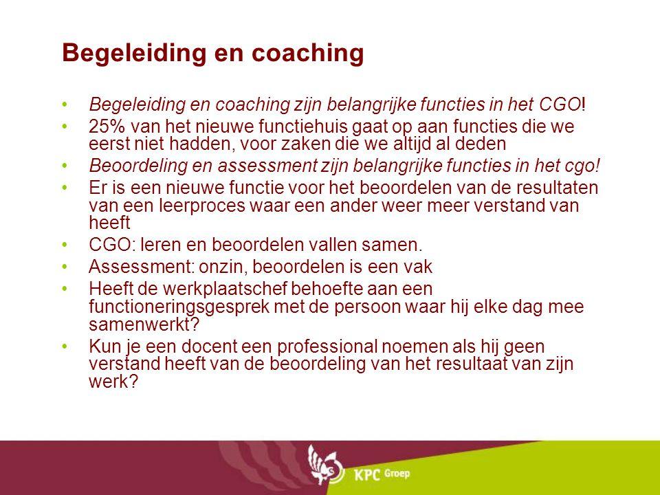 Begeleiding en coaching Begeleiding en coaching zijn belangrijke functies in het CGO! 25% van het nieuwe functiehuis gaat op aan functies die we eerst