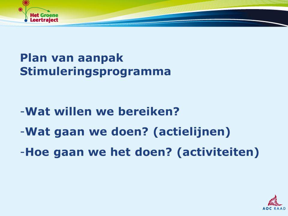 Plan van aanpak Stimuleringsprogramma -Wat willen we bereiken.