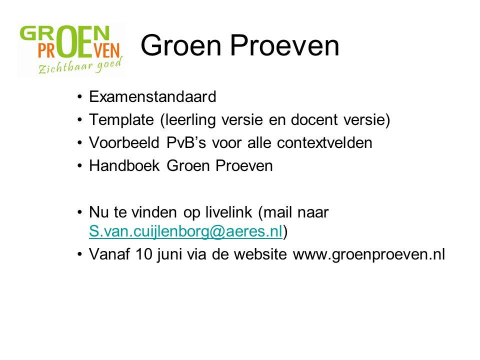 Groen Proeven Examenstandaard Template (leerling versie en docent versie) Voorbeeld PvB's voor alle contextvelden Handboek Groen Proeven Nu te vinden