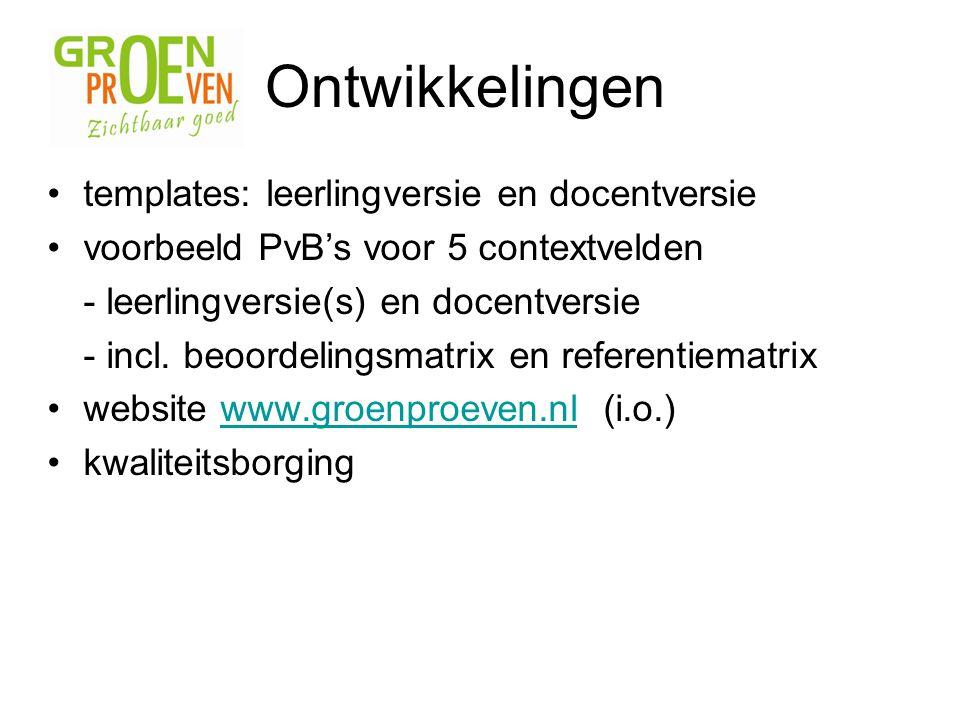 templates: leerlingversie en docentversie voorbeeld PvB's voor 5 contextvelden - leerlingversie(s) en docentversie - incl. beoordelingsmatrix en refer