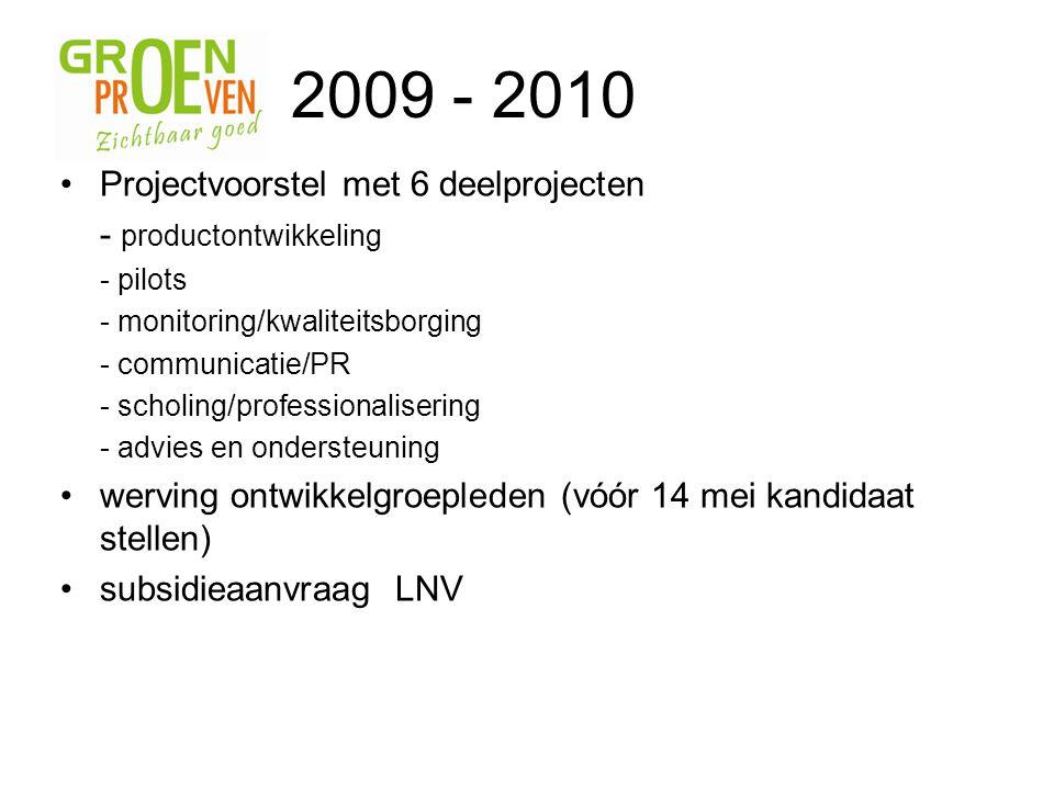 Projectvoorstel met 6 deelprojecten - productontwikkeling - pilots - monitoring/kwaliteitsborging - communicatie/PR - scholing/professionalisering - advies en ondersteuning werving ontwikkelgroepleden (vóór 14 mei kandidaat stellen) subsidieaanvraag LNV 2009 - 2010