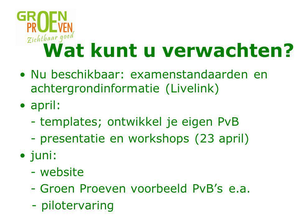 Nu beschikbaar: examenstandaarden en achtergrondinformatie (Livelink) april: - templates; ontwikkel je eigen PvB - presentatie en workshops (23 april) juni: - website - Groen Proeven voorbeeld PvB'se.a.