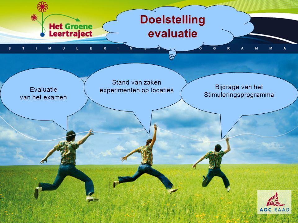 Bijdrage van het Stimuleringsprogramma Evaluatie van het examen Stand van zaken experimenten op locaties Doelstelling evaluatie