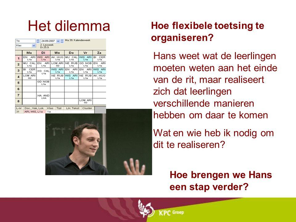 Het dilemma Hoe flexibele toetsing te organiseren? Hoe brengen we Hans een stap verder? Hans weet wat de leerlingen moeten weten aan het einde van de
