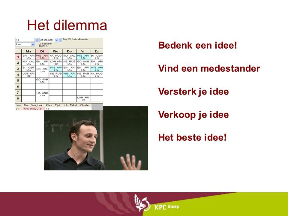 Het dilemma Bedenk een idee! Vind een medestander Versterk je idee Verkoop je idee Het beste idee!