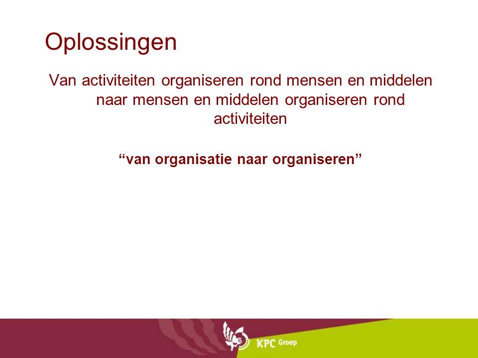 """Oplossingen Van activiteiten organiseren rond mensen en middelen naar mensen en middelen organiseren rond activiteiten """"van organisatie naar organiser"""