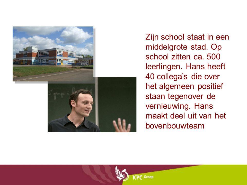 Zijn school staat in een middelgrote stad. Op school zitten ca. 500 leerlingen. Hans heeft 40 collega's die over het algemeen positief staan tegenover