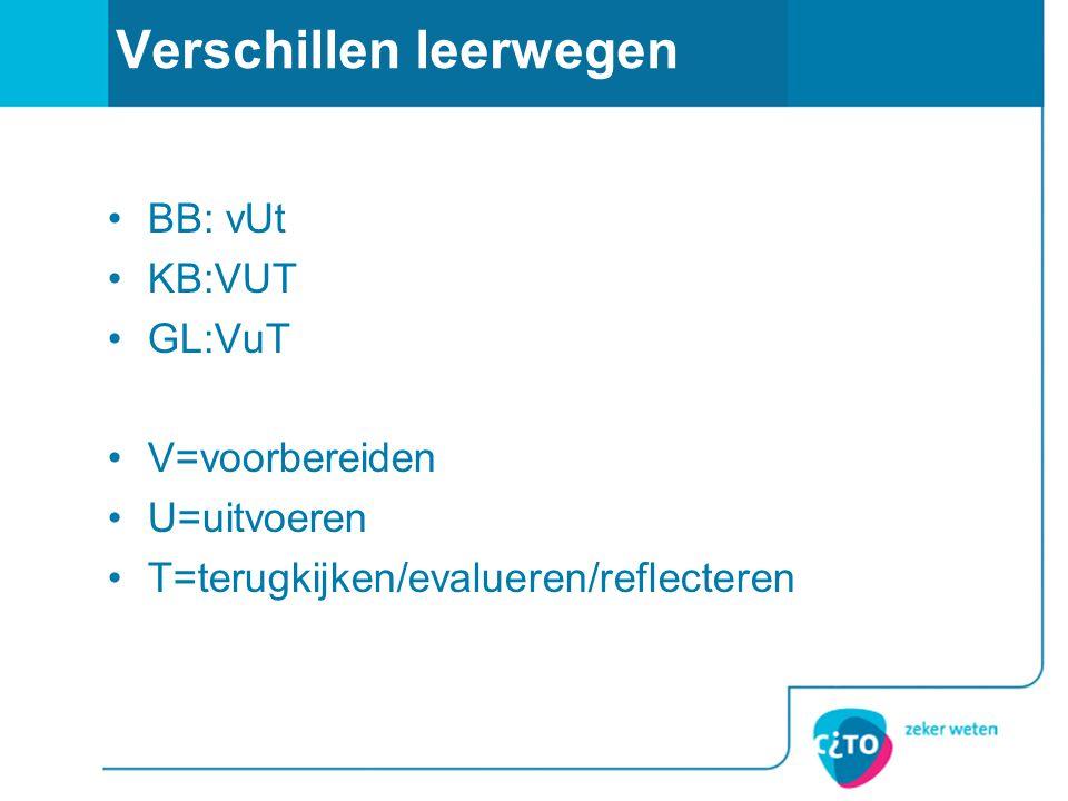 Verschillen leerwegen BB: vUt KB:VUT GL:VuT V=voorbereiden U=uitvoeren T=terugkijken/evalueren/reflecteren