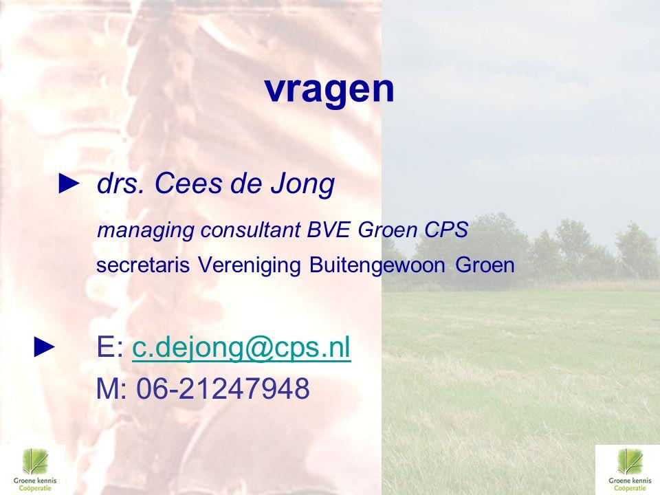 vragen ► drs. Cees de Jong managing consultant BVE Groen CPS secretaris Vereniging Buitengewoon Groen ►E: c.dejong@cps.nlc.dejong@cps.nl M: 06-2124794
