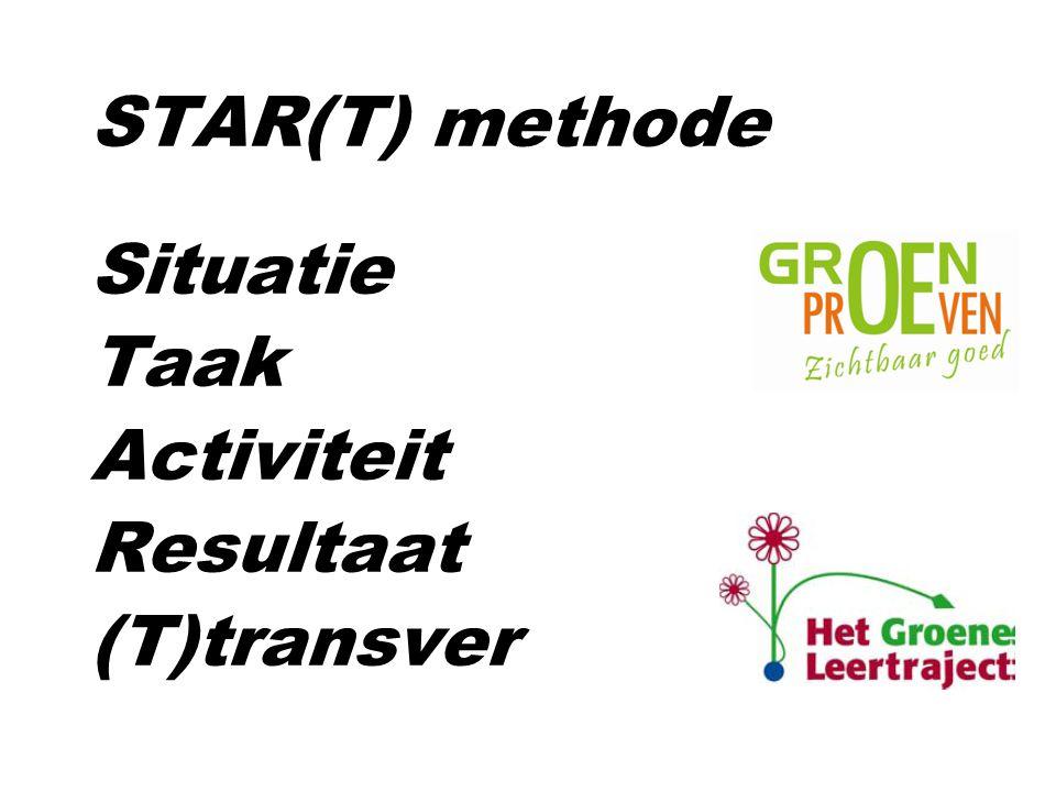STAR(T) methode Situatie Taak Activiteit Resultaat (T)transver