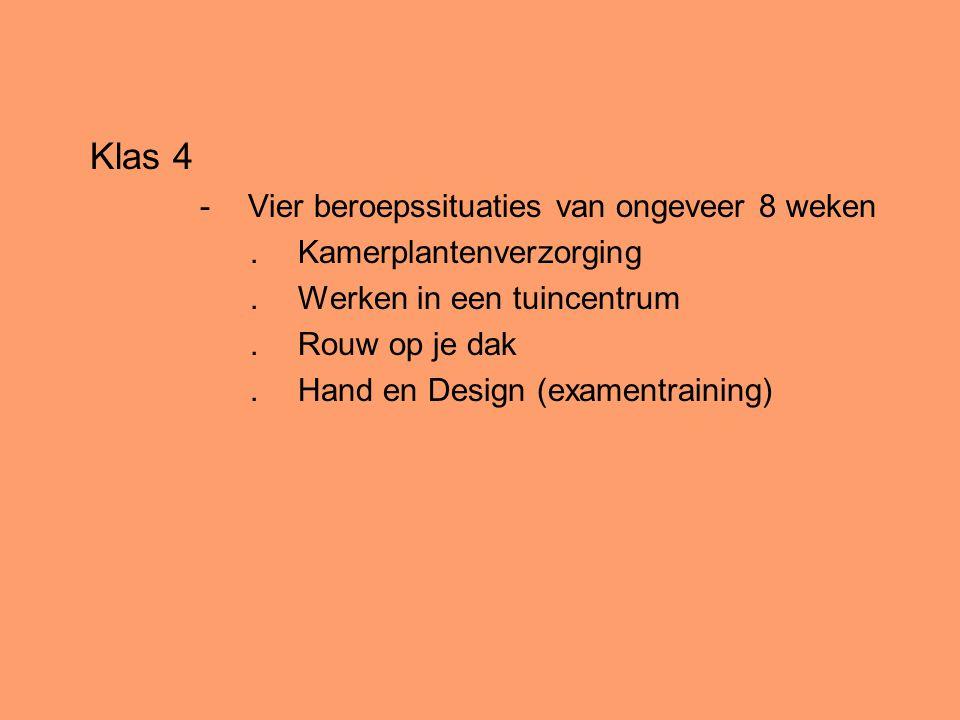 Klas 4 -Vier beroepssituaties van ongeveer 8 weken.Kamerplantenverzorging.Werken in een tuincentrum.Rouw op je dak.Hand en Design (examentraining)