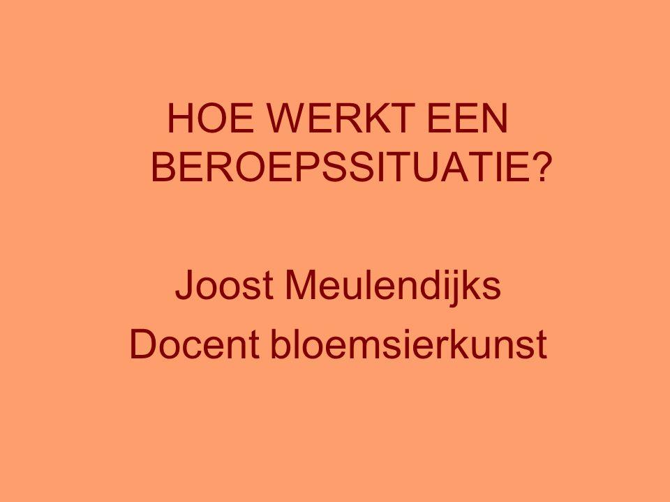 HOE WERKT EEN BEROEPSSITUATIE? Joost Meulendijks Docent bloemsierkunst