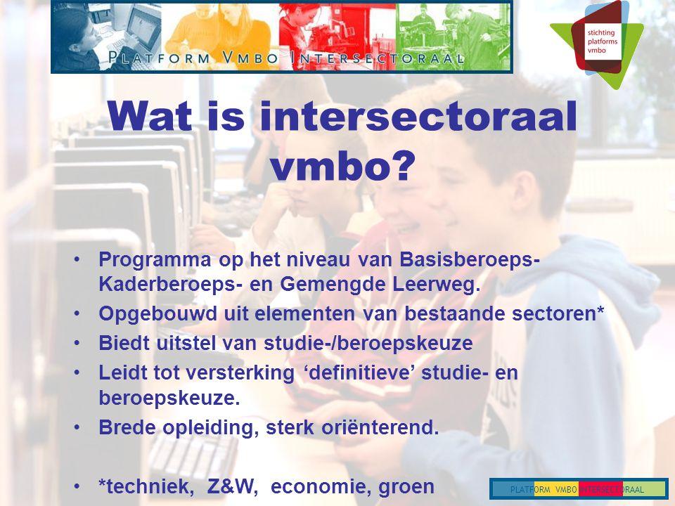 PLATFORM VMBO INTERSECTORAAL Wat is intersectoraal vmbo.