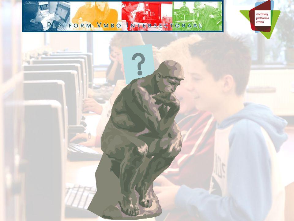 PLATFORM VMBO INTERSECTORAAL Kwaliteit gebaseerd op: Doorstroomconvenant met ROC Cgo-afspraken met mbo en verkenning aansluiting domeinen Afstemming met regio Contacten met arbeidsmarkt en instellingen Intersectorale leermiddelen (in ontwikkeling door scholen en via Platform) Toegerust en bekwaam docenten team Inspirerende leeromgeving Kwaliteitsbewaking, CE (CSPE) en schoolexamen Afstemming met OC&W