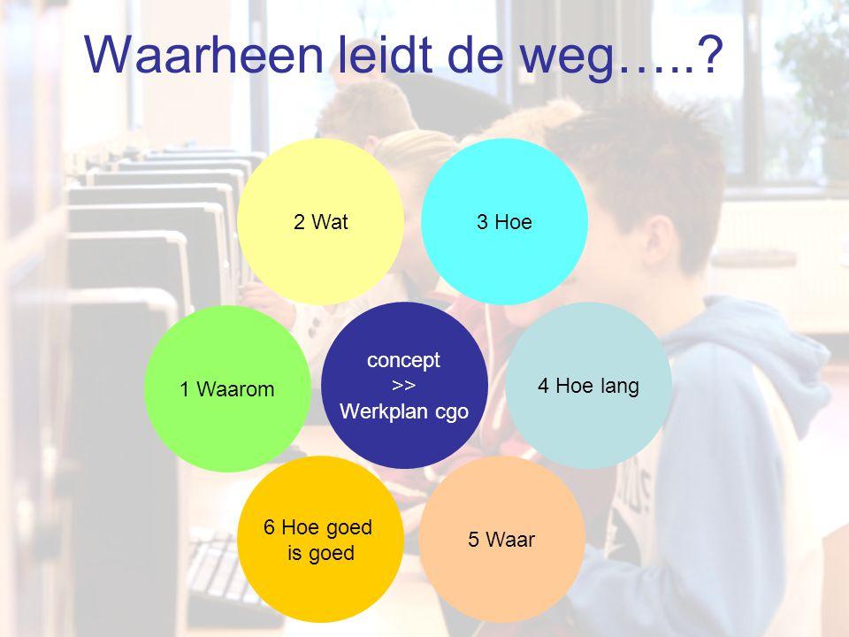 4 Hoe lang 1 Waarom 2 Wat 5 Waar 3 Hoe 6 Hoe goed is goed concept >> Werkplan cgo Waarheen leidt de weg…..