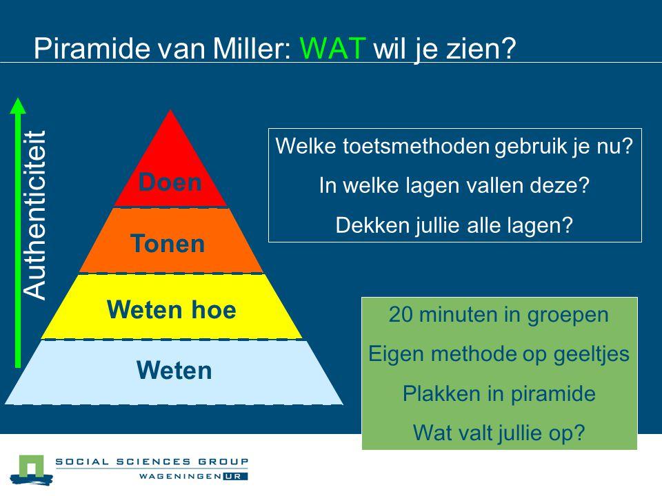 Piramide van Miller: WAT wil je zien? Weten Weten hoeTonen Doen Authenticiteit Welke toetsmethoden gebruik je nu? In welke lagen vallen deze? Dekken j