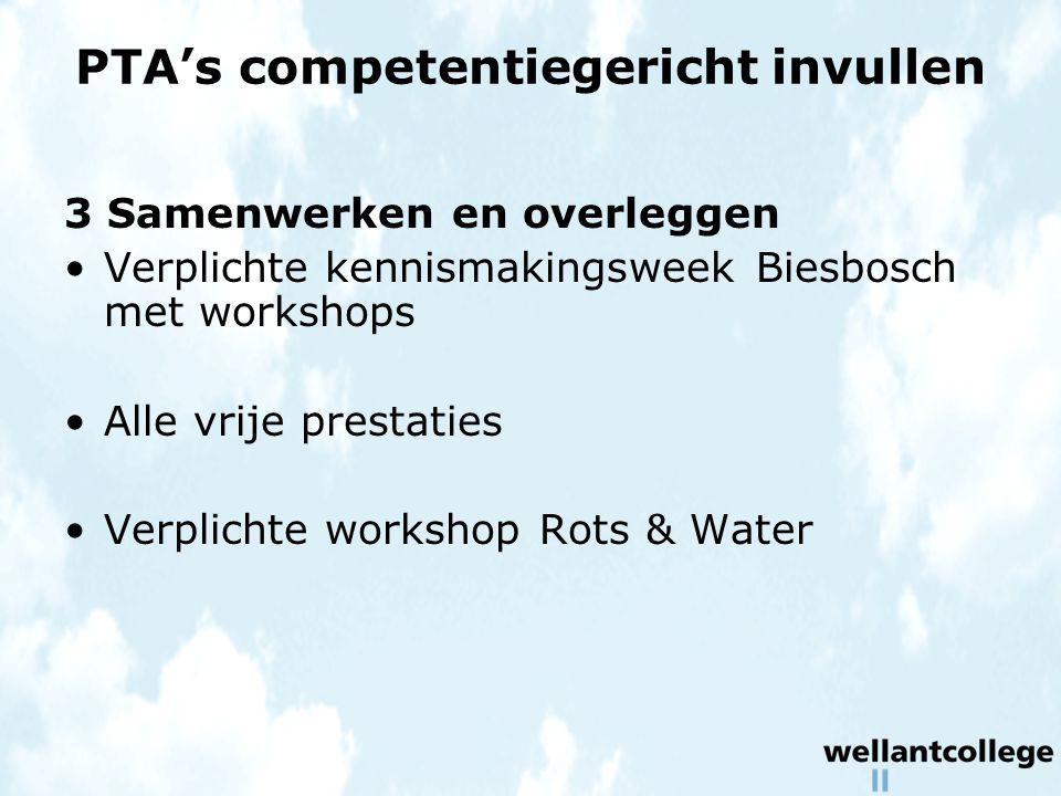 PTA's competentiegericht invullen 3 Samenwerken en overleggen Verplichte kennismakingsweek Biesbosch met workshops Alle vrije prestaties Verplichte workshop Rots & Water