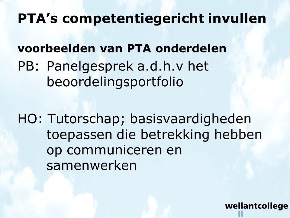 PTA's competentiegericht invullen voorbeelden van PTA onderdelen PB:Panelgesprek a.d.h.v het beoordelingsportfolio HO: Tutorschap; basisvaardigheden toepassen die betrekking hebben op communiceren en samenwerken