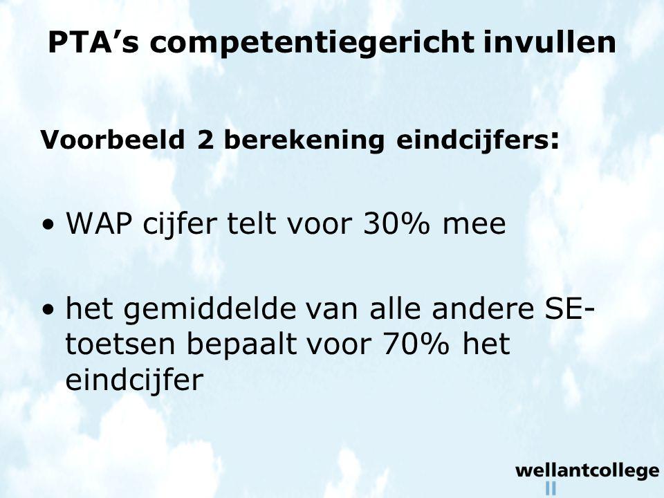PTA's competentiegericht invullen Voorbeeld 2 berekening eindcijfers : WAP cijfer telt voor 30% mee het gemiddelde van alle andere SE- toetsen bepaalt voor 70% het eindcijfer