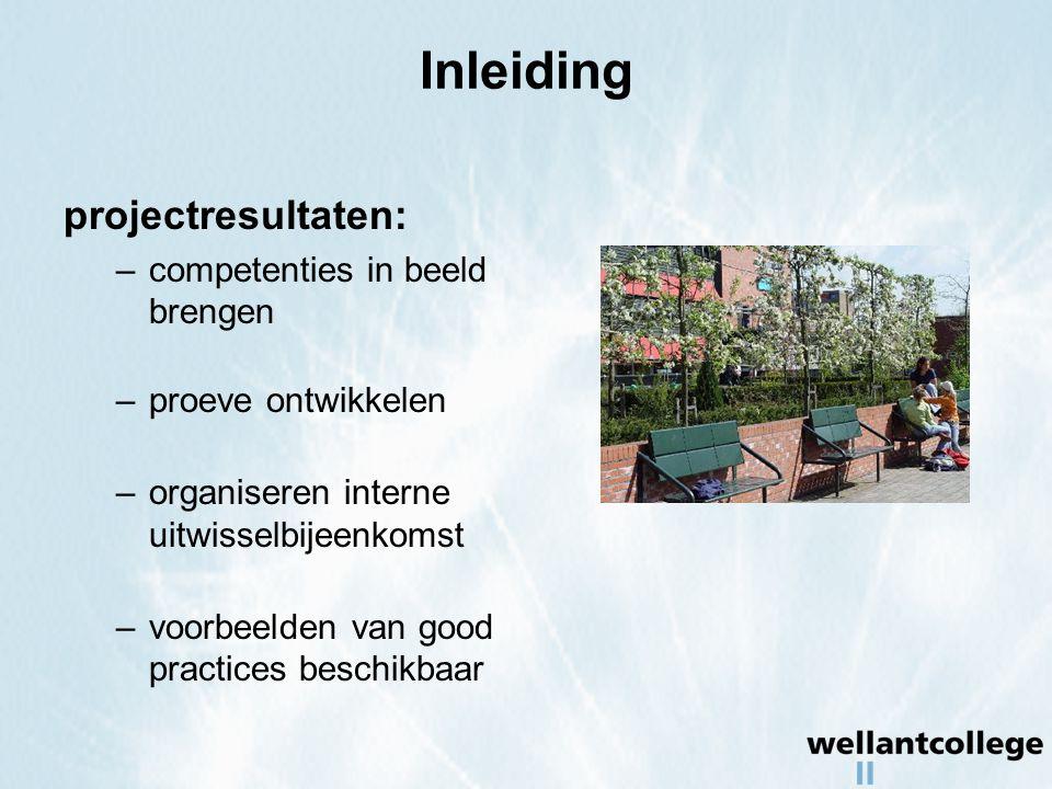 Inleiding projectresultaten: –competenties in beeld brengen –proeve ontwikkelen –organiseren interne uitwisselbijeenkomst –voorbeelden van good practices beschikbaar