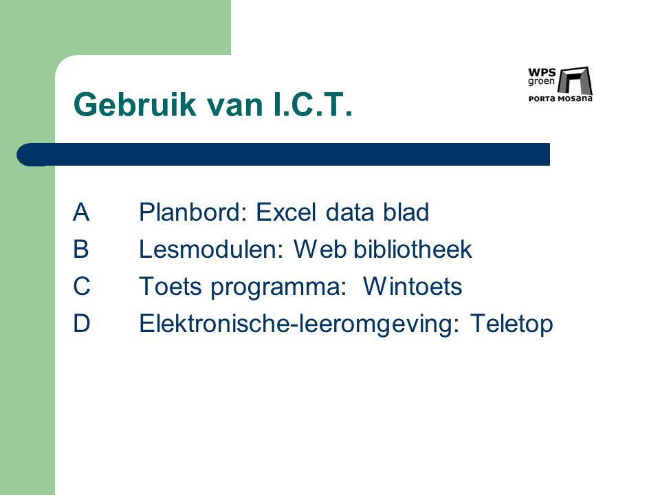 Gebruik van I.C.T. APlanbord: Excel data blad BLesmodulen: Web bibliotheek CToets programma: Wintoets DElektronische-leeromgeving: Teletop