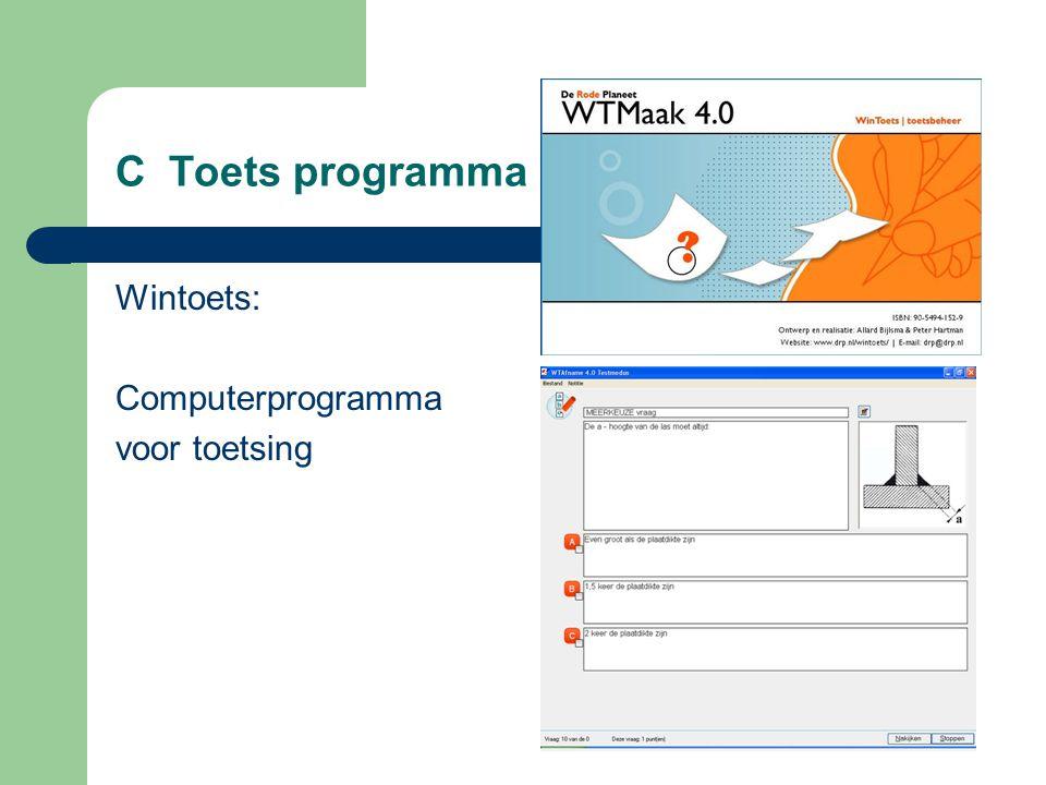 C Toets programma Wintoets: Computerprogramma voor toetsing
