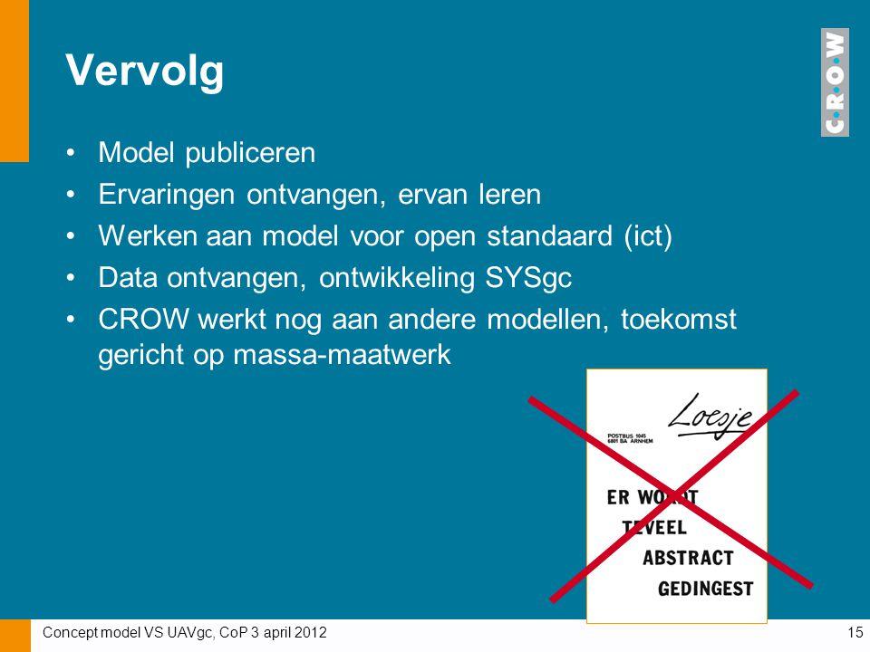 Concept model VS UAVgc, CoP 3 april 201215 Vervolg Model publiceren Ervaringen ontvangen, ervan leren Werken aan model voor open standaard (ict) Data