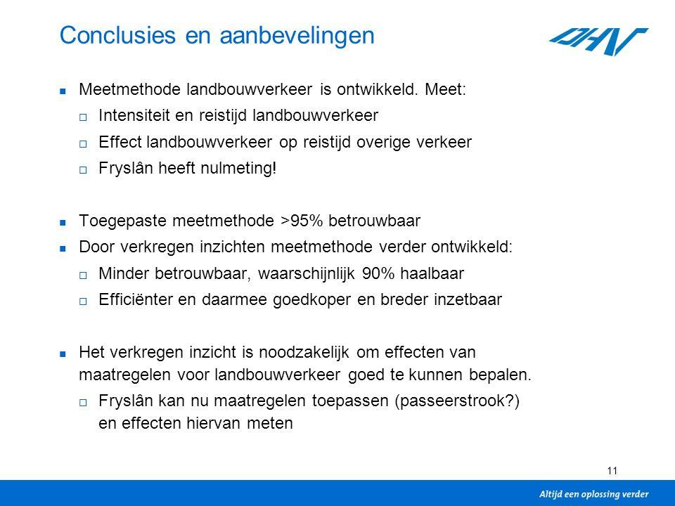 11 Conclusies en aanbevelingen Meetmethode landbouwverkeer is ontwikkeld.