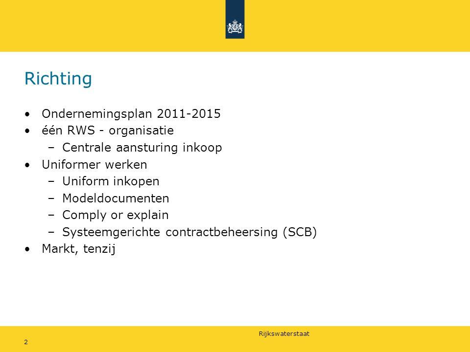Rijkswaterstaat 2 Richting Ondernemingsplan 2011-2015 één RWS - organisatie –Centrale aansturing inkoop Uniformer werken –Uniform inkopen –Modeldocume