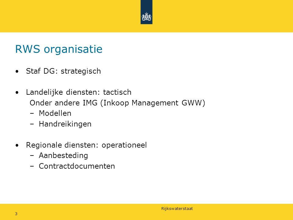Rijkswaterstaat 3 RWS organisatie Staf DG: strategisch Landelijke diensten: tactisch Onder andere IMG (Inkoop Management GWW) –Modellen –Handreikingen