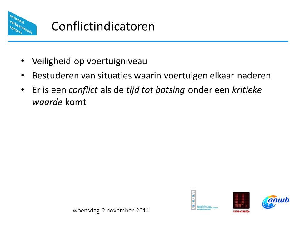 woensdag 2 november 2011 Conflictindicatoren Veiligheid op voertuigniveau Bestuderen van situaties waarin voertuigen elkaar naderen Er is een conflict als de tijd tot botsing onder een kritieke waarde komt