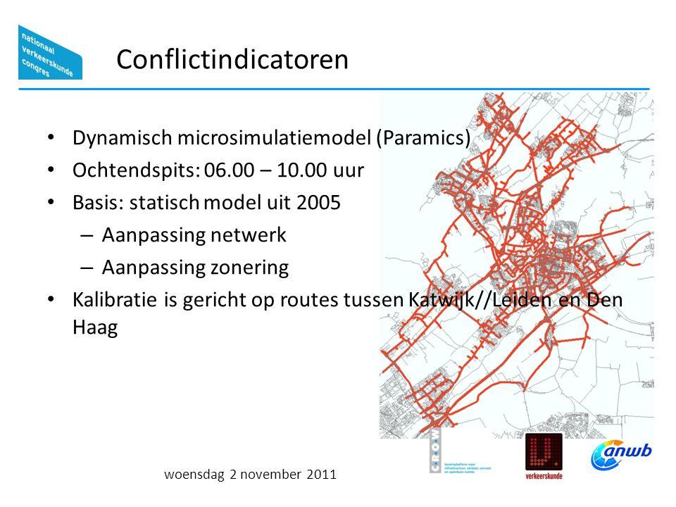 woensdag 2 november 2011 Conflictindicatoren Dynamisch microsimulatiemodel (Paramics) Ochtendspits: 06.00 – 10.00 uur Basis: statisch model uit 2005 – Aanpassing netwerk – Aanpassing zonering Kalibratie is gericht op routes tussen Katwijk//Leiden en Den Haag