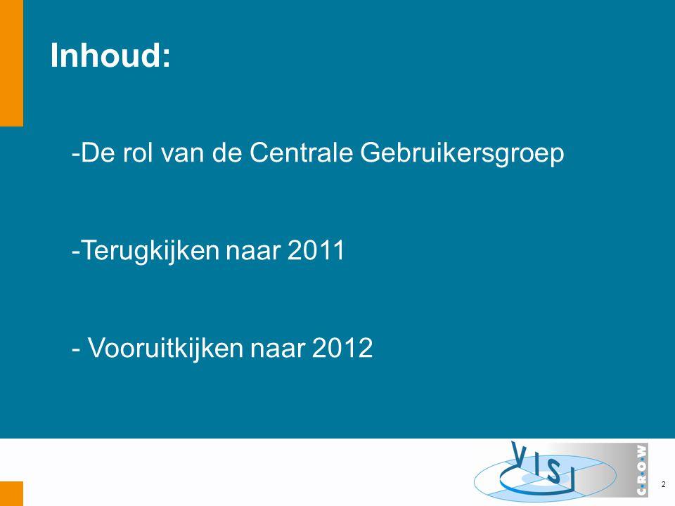 Inhoud: -De rol van de Centrale Gebruikersgroep -Terugkijken naar 2011 - Vooruitkijken naar 2012 2