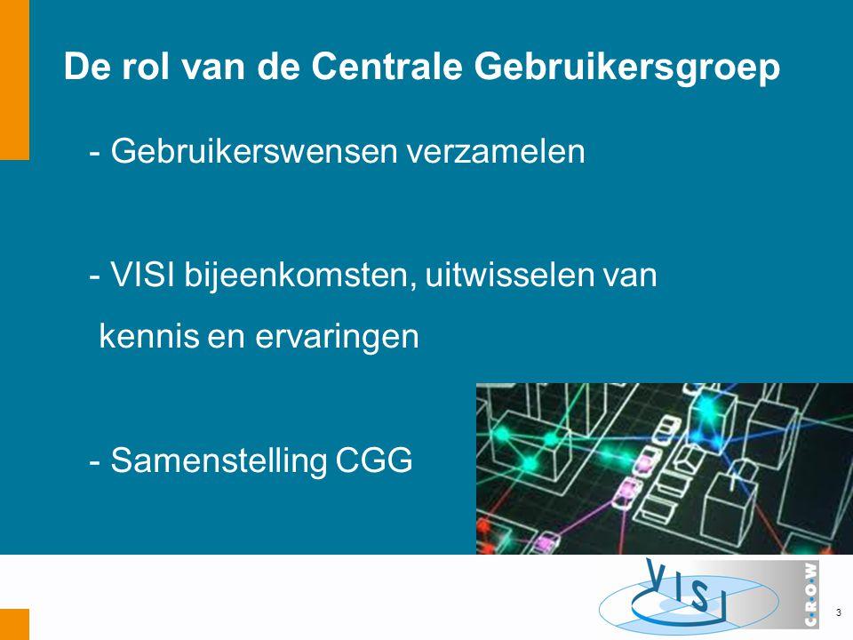 De rol van de Centrale Gebruikersgroep - Gebruikerswensen verzamelen - VISI bijeenkomsten, uitwisselen van kennis en ervaringen - Samenstelling CGG 3