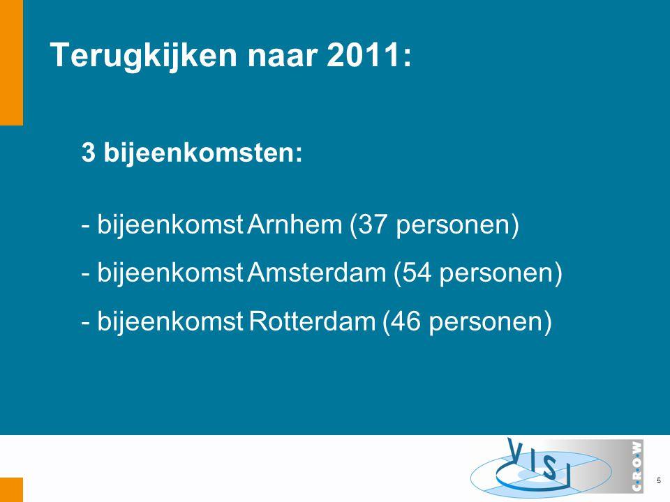 Terugkijken naar 2011: 3 bijeenkomsten: - bijeenkomst Arnhem (37 personen) - bijeenkomst Amsterdam (54 personen) - bijeenkomst Rotterdam (46 personen) 5