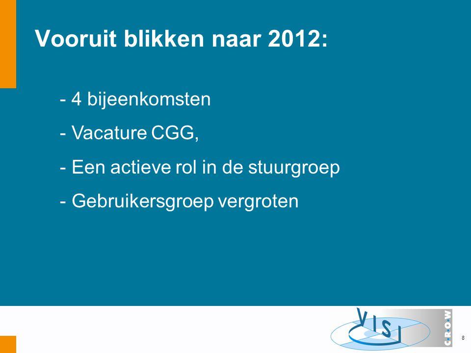 Vooruit blikken naar 2012: - 4 bijeenkomsten - Vacature CGG, - Een actieve rol in de stuurgroep - Gebruikersgroep vergroten 8