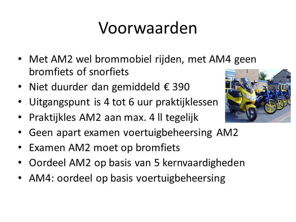 Voorwaarden Met AM2 wel brommobiel rijden, met AM4 geen bromfiets of snorfiets Niet duurder dan gemiddeld € 390 Uitgangspunt is 4 tot 6 uur praktijklessen Praktijkles AM2 aan max.