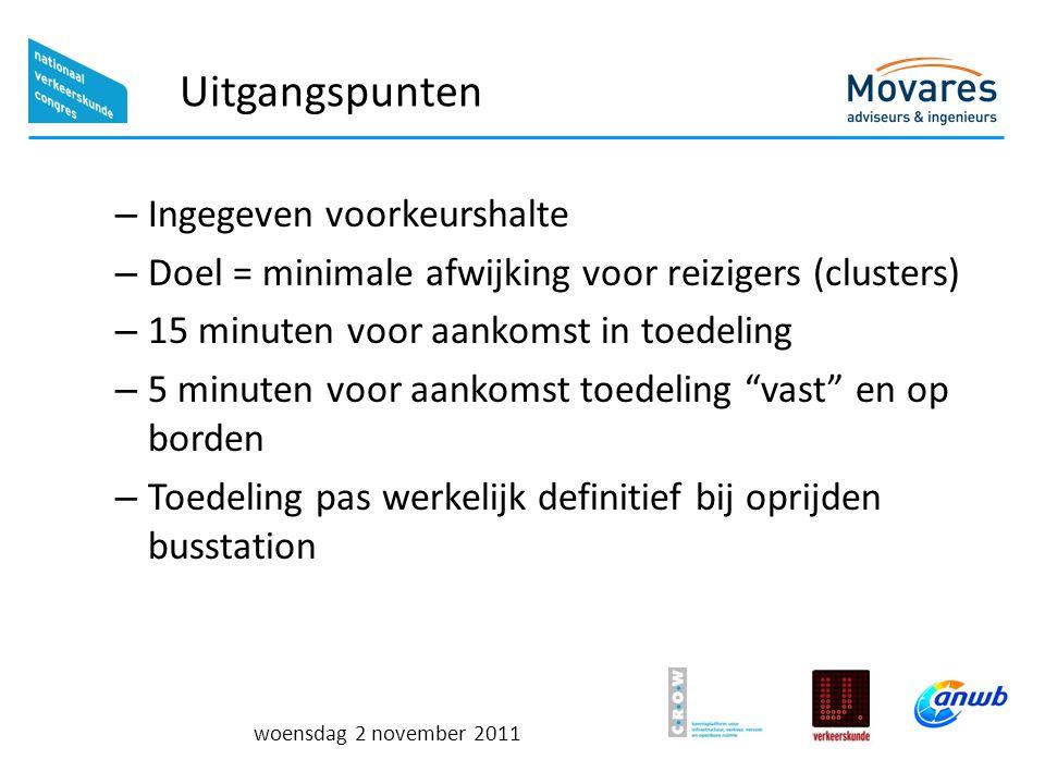 woensdag 2 november 2011 Uitgangspunten – Ingegeven voorkeurshalte – Doel = minimale afwijking voor reizigers (clusters) – 15 minuten voor aankomst in