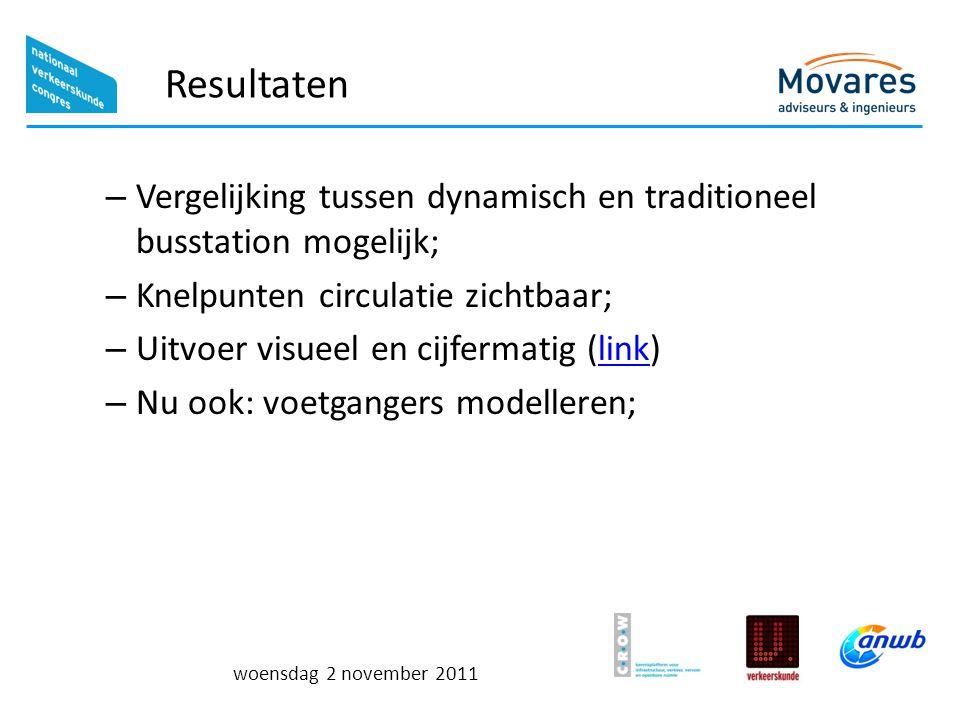 woensdag 2 november 2011 Resultaten – Vergelijking tussen dynamisch en traditioneel busstation mogelijk; – Knelpunten circulatie zichtbaar; – Uitvoer