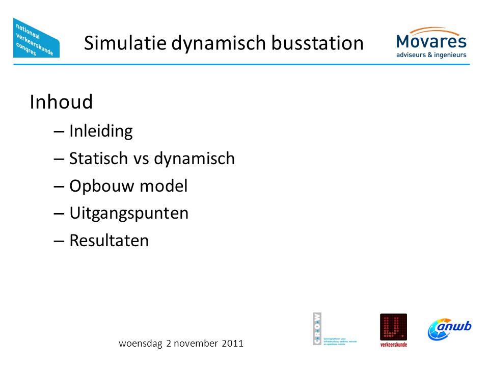 woensdag 2 november 2011 Simulatie dynamisch busstation Inhoud – Inleiding – Statisch vs dynamisch – Opbouw model – Uitgangspunten – Resultaten