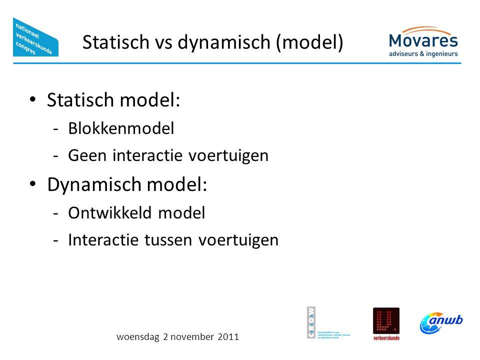 woensdag 2 november 2011 Statisch vs dynamisch (model) Statisch model: -Blokkenmodel -Geen interactie voertuigen Dynamisch model: -Ontwikkeld model -I