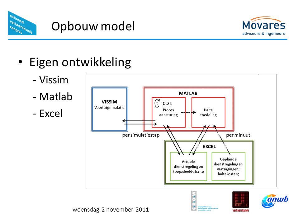 woensdag 2 november 2011 Opbouw model Eigen ontwikkeling - Vissim - Matlab - Excel