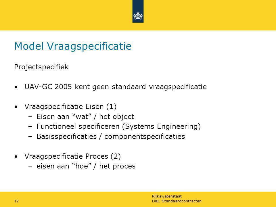 Rijkswaterstaat D&C Standaardcontracten12 Model Vraagspecificatie Projectspecifiek UAV-GC 2005 kent geen standaard vraagspecificatie Vraagspecificatie