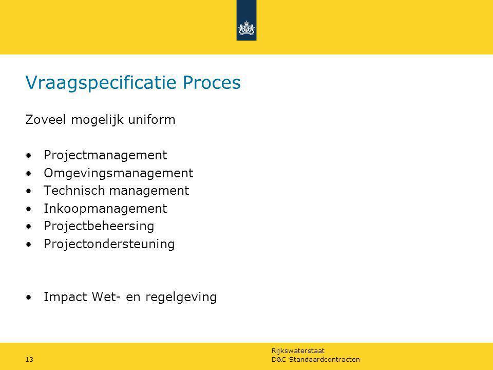 Rijkswaterstaat D&C Standaardcontracten13 Vraagspecificatie Proces Zoveel mogelijk uniform Projectmanagement Omgevingsmanagement Technisch management