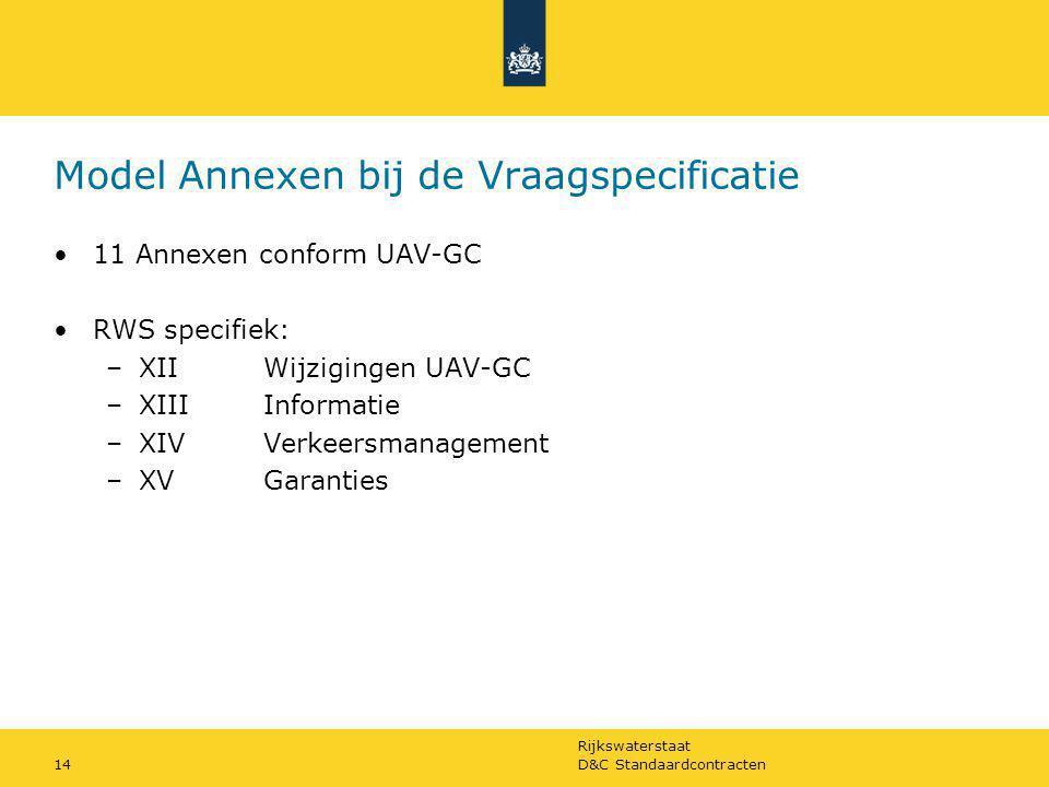 Rijkswaterstaat D&C Standaardcontracten14 Model Annexen bij de Vraagspecificatie 11 Annexen conform UAV-GC RWS specifiek: –XIIWijzigingen UAV-GC –XIII