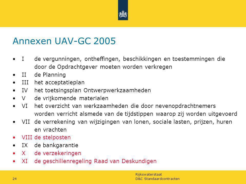 Rijkswaterstaat D&C Standaardcontracten24 Annexen UAV-GC 2005 Ide vergunningen, ontheffingen, beschikkingen en toestemmingen die door de Opdrachtgever