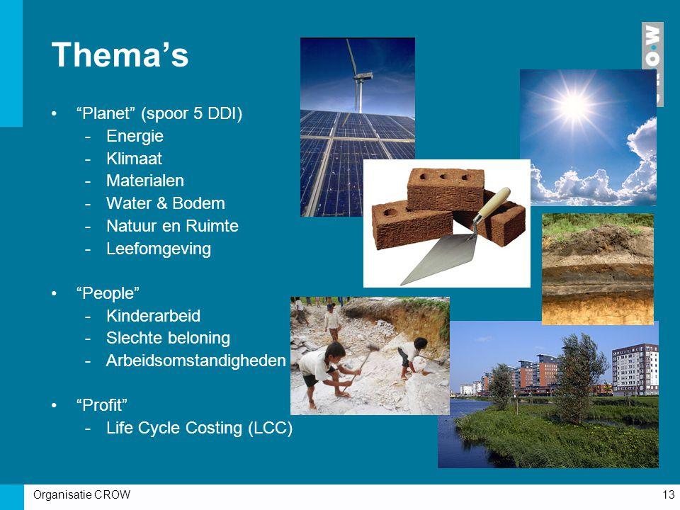Organisatie CROW13 Thema's Planet (spoor 5 DDI) -Energie -Klimaat -Materialen -Water & Bodem -Natuur en Ruimte -Leefomgeving People -Kinderarbeid -Slechte beloning -Arbeidsomstandigheden Profit -Life Cycle Costing (LCC)
