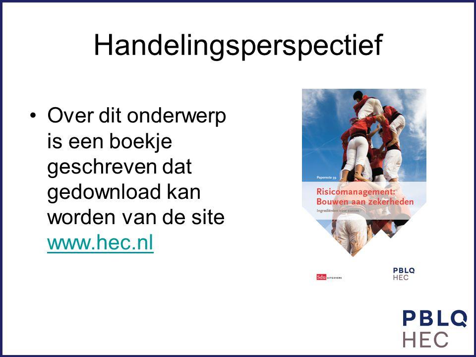 Handelingsperspectief Over dit onderwerp is een boekje geschreven dat gedownload kan worden van de site www.hec.nl www.hec.nl