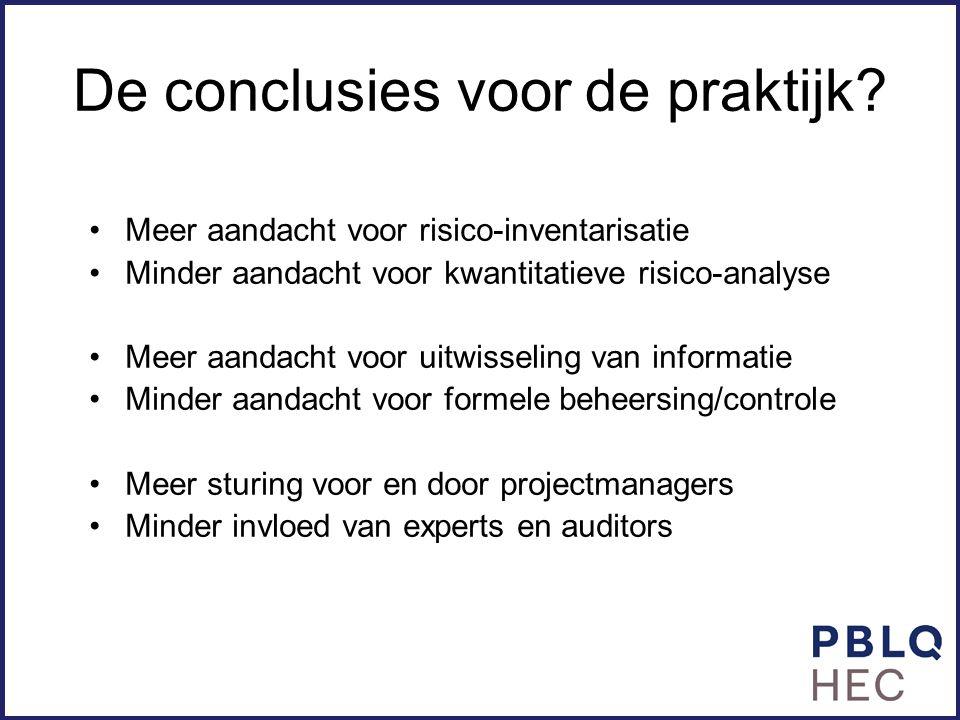De conclusies voor de praktijk? Meer aandacht voor risico-inventarisatie Minder aandacht voor kwantitatieve risico-analyse Meer aandacht voor uitwisse