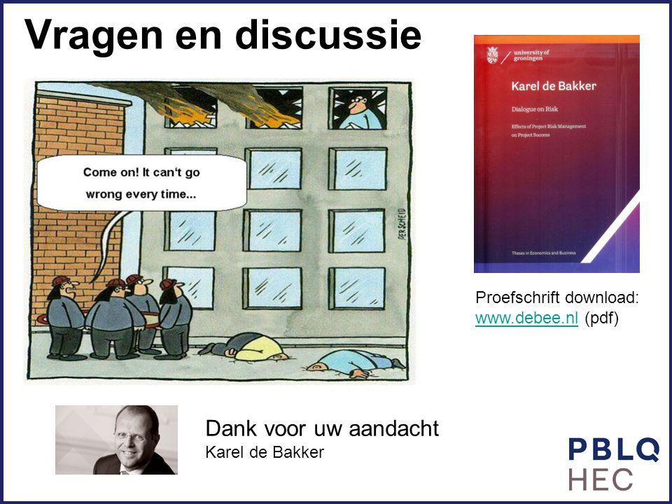Vragen en discussie Proefschrift download: www.debee.nlwww.debee.nl (pdf) Dank voor uw aandacht Karel de Bakker